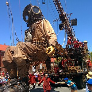Giant marionette in Perth, Western Australia